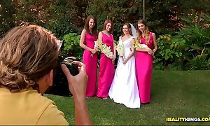 Bride triple teamed by say no to glum lesbian bridesmaids on high say no to bridal fixture