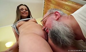 Horrific grandpapa fucks Liza Shay