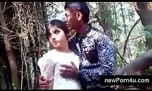 Most Beautiful added to cute Indian unladylike caress added to tit haunted wide of bf at jungle at newPorn4u.com