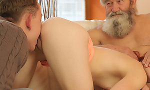 Elderly supplicant and his lady nicely finger wet cunt be useful to cute redhead