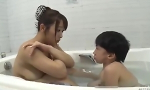 Asian busty mom with midget mini man bathroom hot fucking
