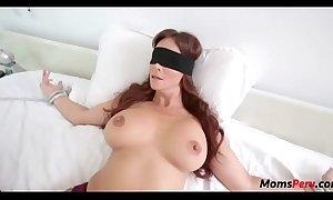 Perv son fucks mom's indiscretion instantly shes blindfolded!