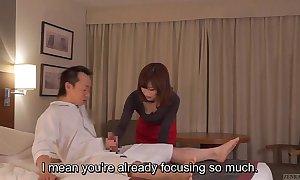 Subtitled cfnm japanese B & B milf knead leads to tugjob