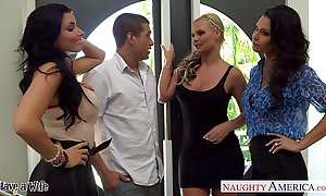 Wives jessica jaymes, phoenix marie and romi ripple thing embrace alongside foursome