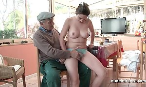 Correct titted french pitch-dark banged by papy voyeur