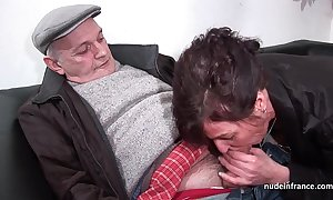 Clumsy mature steadfast dp added to facialized up 3way with papy voyeur