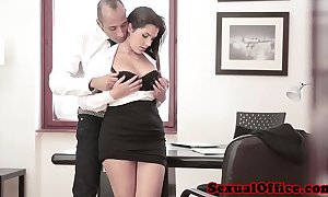 Busty situation spex babe acquires spunk flow on bosom
