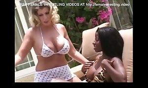 Interracial faggot wrestling catfight