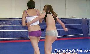 Astonishing dyke dildofucked inspection wrestling
